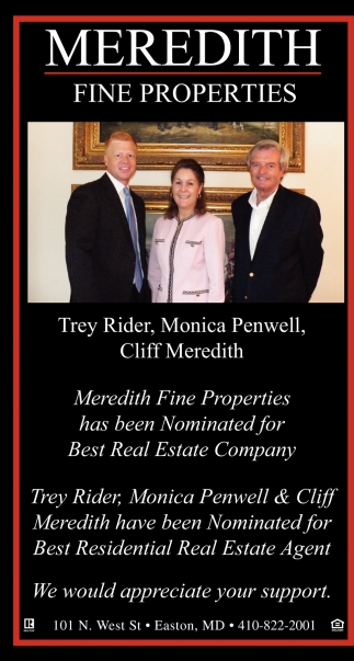 Meredith Fine Properties has Been Nominated for Best Real Estate Company