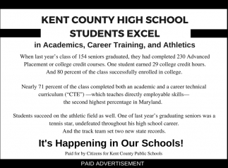 Kent County High School Students Excel