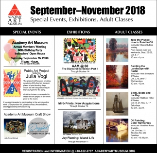 Special Events, Exhibitions, Adult Classes
