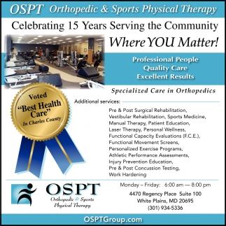 Professional People, Quality Care, Orthopedic U0026 Sport Physical Therapy, White  Plains, MD