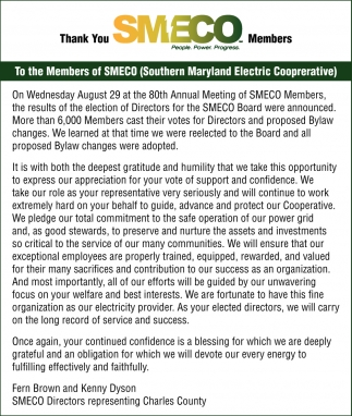 Thank You SMECO Members