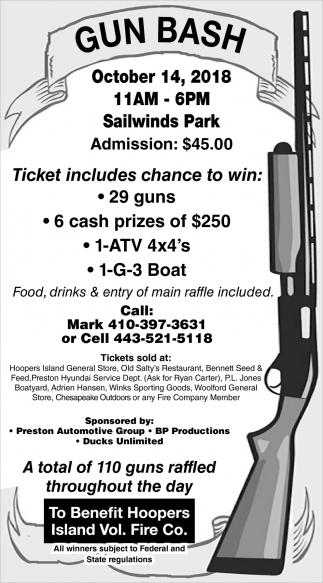 Ticket Includes Chance to Win, Gun Bash, Fishing Creek, MD