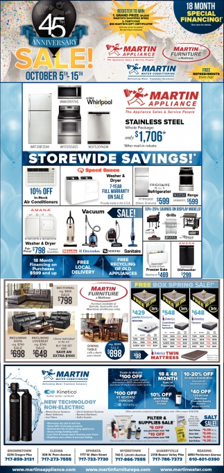 Storewide Savings!, Martin Water Conditioning   Martin Furniture   Martin  Appliance, Reading, PA