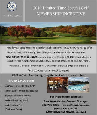 2019 Limited Time Special Golf Membership Incentive