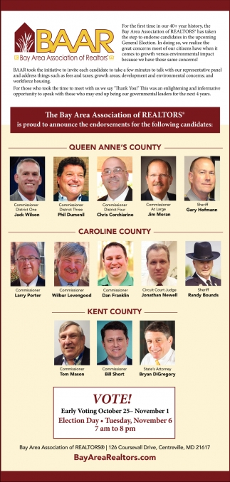 The Bay Area Association of Realtors is Proud to Announce the Endorsements for the Following Candidates