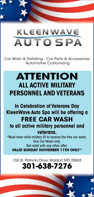 Free Car Wash to All Active Military Personnel and Veterans