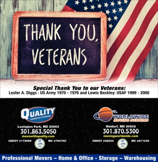 Thank You Veterans, Quality Transfer U0026 Storage U0026 Worlwide Moving Systems,  Waldorf, MD